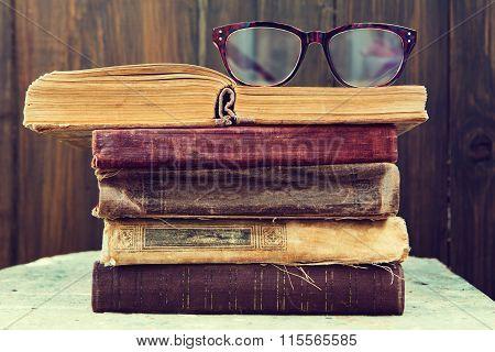 Vintage Reading Glasses On The Books