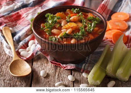 Soup With Beans, Carrots And Celery Close-up. Horizontal