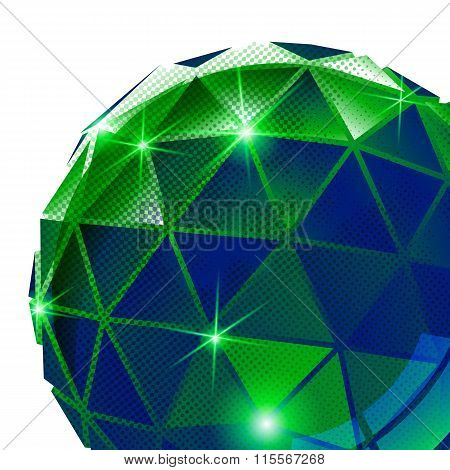 Green Plastic Pixilated Background With Dimensional Sphere, Synthetic Dotted Geometric Backdrop.