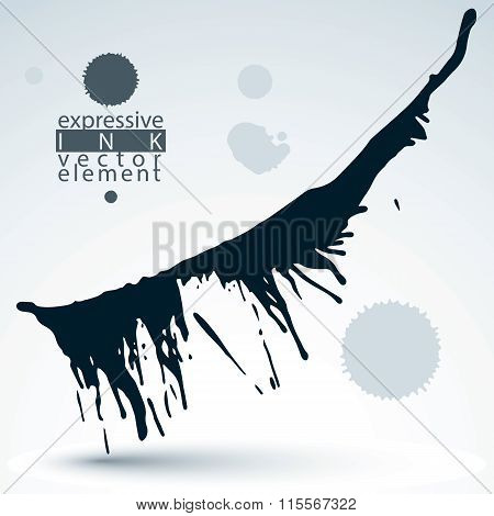 Artistic Monochrome Abstract Dirty Ink Template, Scanned And Traced Splashing Decorative Element.