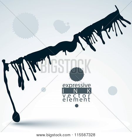 Modern Vector Inky backdrop, Blob Painted With Brush, Muddled Shape Element, Gray