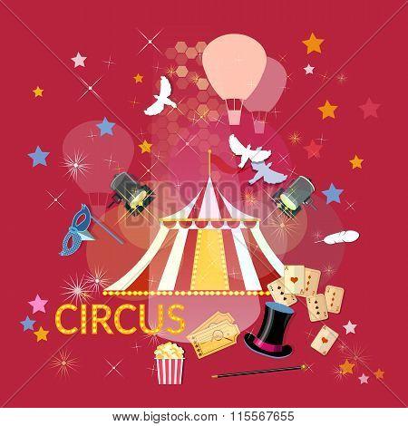Circus Performance Circus Show Circus Tent Vector Illustration
