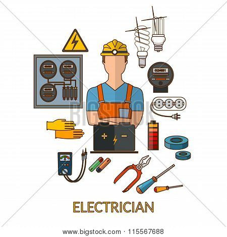 Professional Electrician With Electricity Tools Silhouette