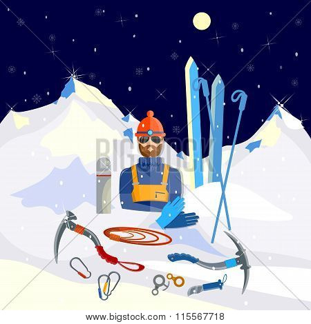 Mountaineer Climber Tools Climbing And Adventure Tourism Winter Mountaineering