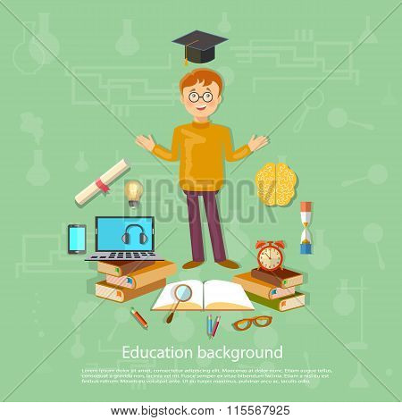 Education Back To School Schoolboy School Tools Study And Learn Vector Illustration