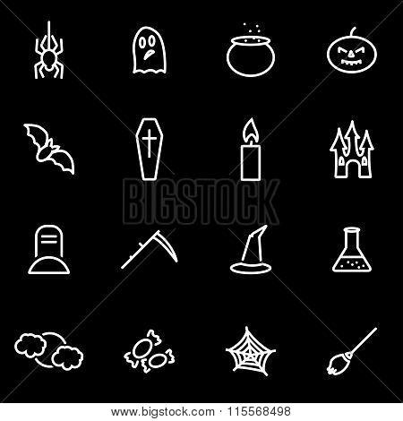 Vector Line Halloween Icon Set