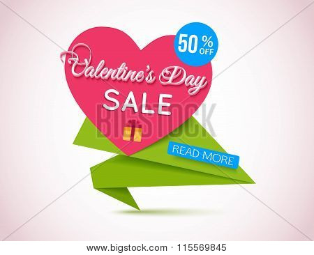 Happy Valentines Day Sale Banner. Valentines Day Background. Origami Heart Template.