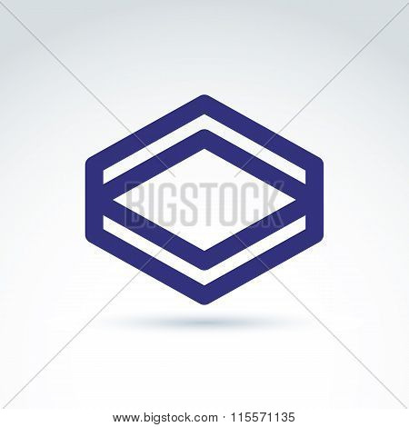 Vector Abstract Monochrome Rhomb, Diamond Figure Isolated On White Background. Complex Geometric