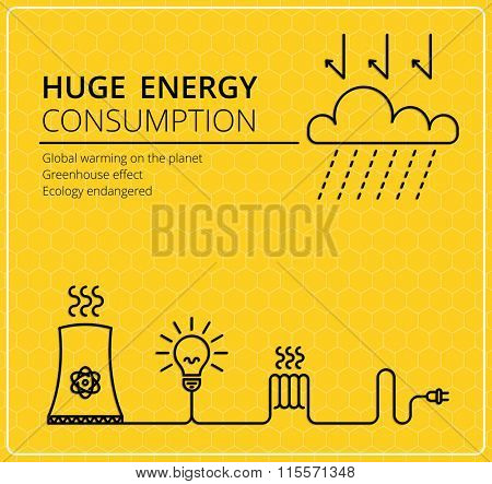 Creative yellow vector background. Wires with a fork and electricity. Business, slim design idea. Energy consumption, global solution, ecology.