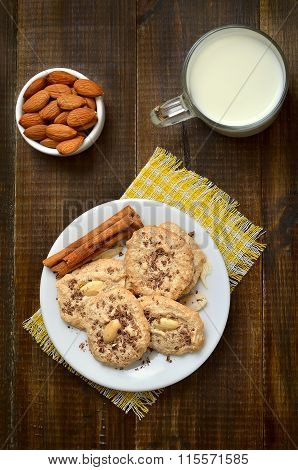 Almond Cookies On White Plate