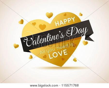 Happy Valentines Day Flyer. Gold Heart with Ribbon.Template for creating Advertising Banner, Brochur