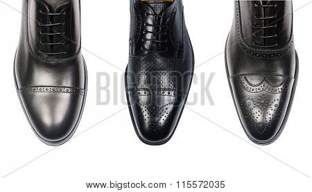 Selection of male shoes isolated on white
