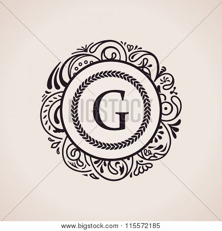 Calligraphic floral baroque monogram. Emblem letter logo G. Vector illustration