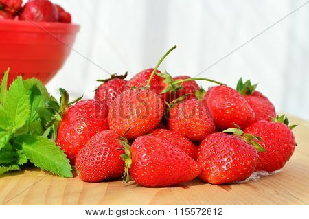 Fresh Ripe Strawberries On Wooden Table