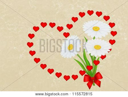 Greeting Card Background With Garland Of Red Hearts And Daisies.
