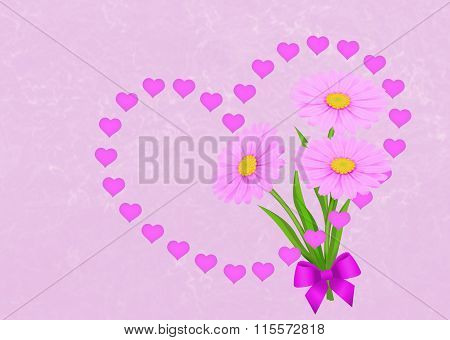 Greeting Card Pink Background With Garland Of Hearts And Daisies.