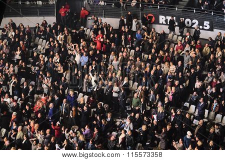 Roma, Italy, January, 16, 2016: the spectator hall during Il Volo concert in Roma, Italy