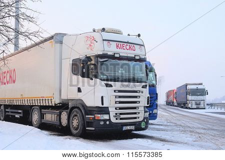 Warshava region, Poland, January, 19, 2016: Trucks on a parking in Poland