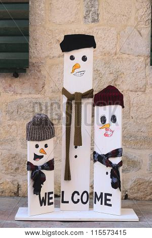 Kotor, Montenegro, January, 8, 2016: Funny snowmens on a decorated street of Kotor, Montenegro
