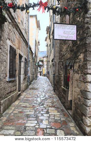 Kotor, Montenegro, January, 7, 2016: Street of an old town of Kotor, Montenegro.