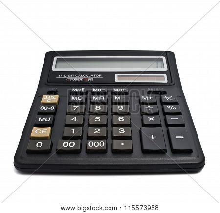 Digital calculator on white background