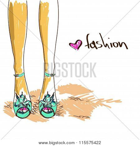 Legs Of Woman In Fashion Shoes