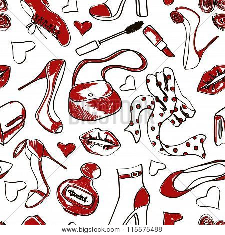 Seamless Pattern Of Shoes And Accessories