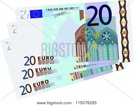 drawing of a 3x 20 Euro bills simplified