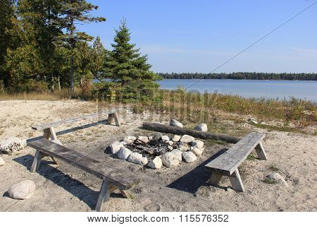 Fire pit at Prentiss Bay