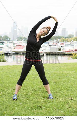 Female model doing yoga