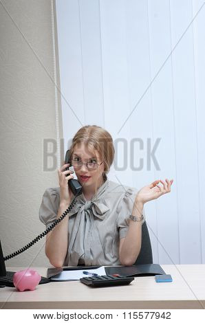 Emotionally Business Woman On Landline Phone Call, Listening To Conversation