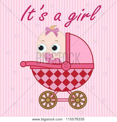 Little Baby Girl In The Baby Carriage