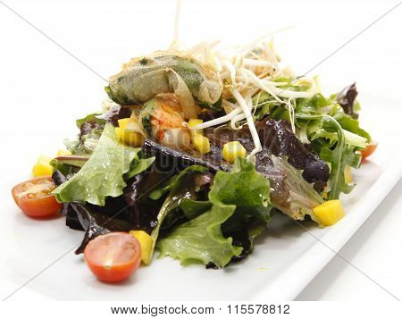 Fresh mixed vegetables salad with prawns