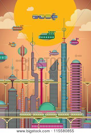 Illustration of futuristic city. Vector illustration.