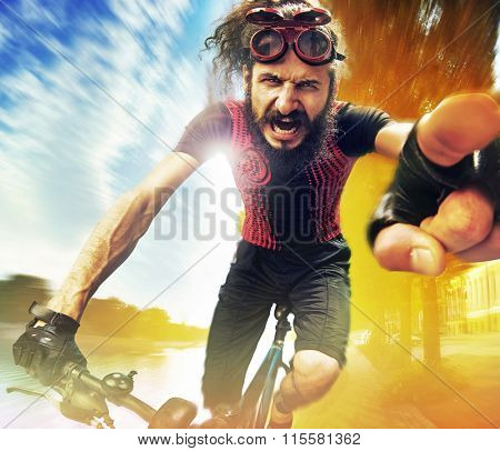 Funny bicyclist riding a bike