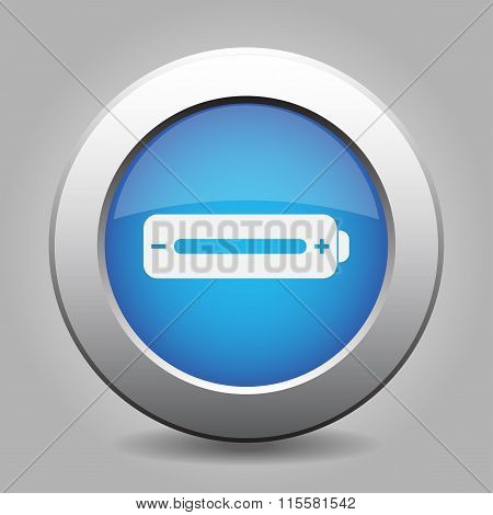 Blue Metal Button With Battery Full