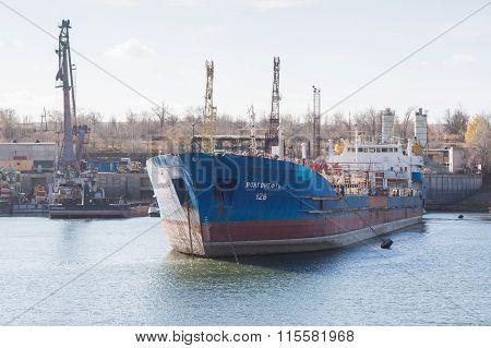 """Ship Tanker Volgoneft 128 Is Being Repaired In Dock Of """"krasnoarmeysky Shipyard"""", Volgogra"""