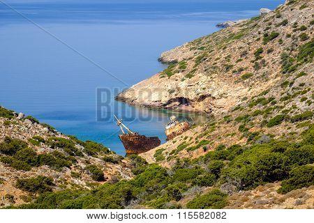 Scenic View Of Abandoned Rusty Shipwreck, Amorgos Island