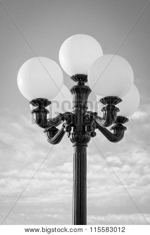 Municipal Lamp Post with Five Bulbs