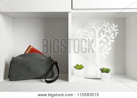 Fashion female handbag with book on shelf