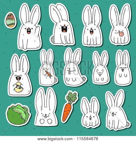 Set 12 sticker rabbit doodle with different emotions. Rabbit Handmade