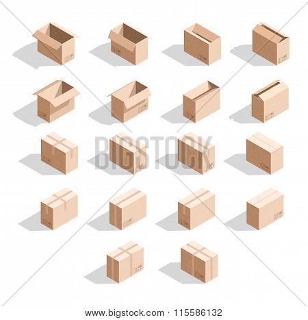 Set of 18 realistic isometric cardboard boxes with texture