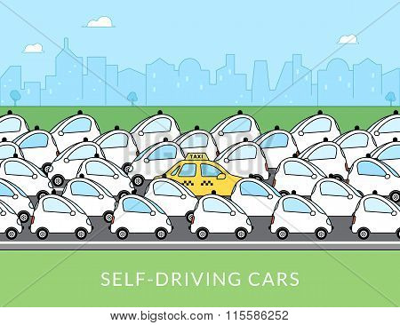 Self-driving car infographic illustration