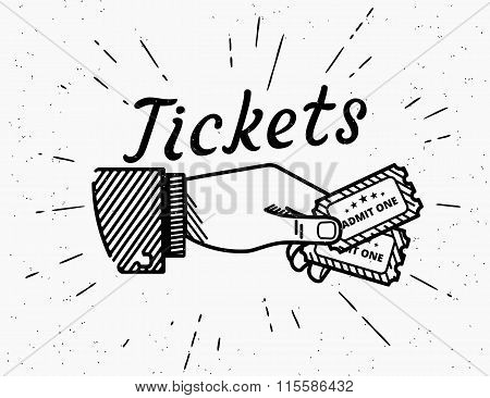 Retro grunge illustration of human hand with two tickets