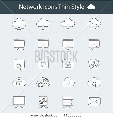 Modern thin line icons set