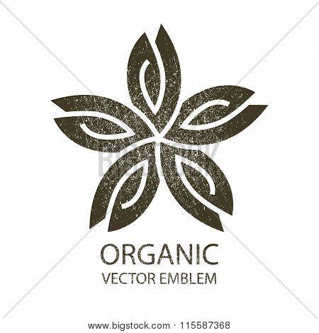 Vector flower organic retro emblem black white, outline symbol