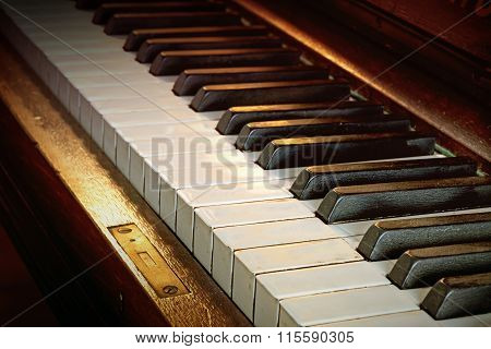 Antique Piano Keyboard From Ebony And Ivory, Warm Color Toned