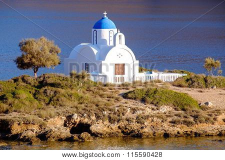 Landscape View Of White Church At Mediterranean Beach, Amorgos