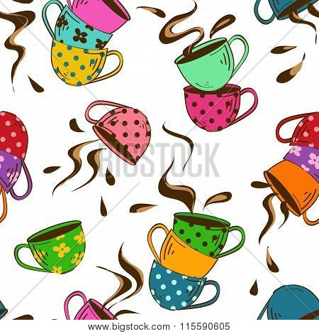 Seamless Pattern Of Teacups.