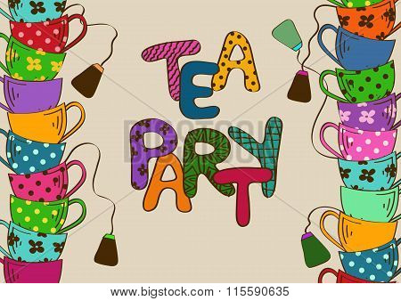 Tea Party Invitation With Teacups.